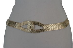 Women Gold Mesh Braided Metal Fashion Belt Hip High Waist Infinity
