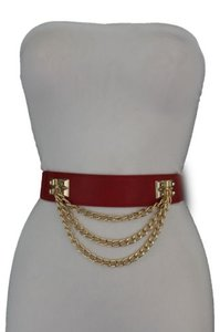 Other Women Red Elastic Fashion Belt Hip High Waist Gold Metal Chain Spike Plus