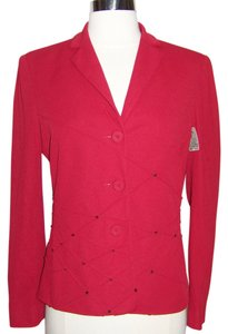 Moschino Sequin Longsleeve Nylon Stretchy Cocktail Red Blazer