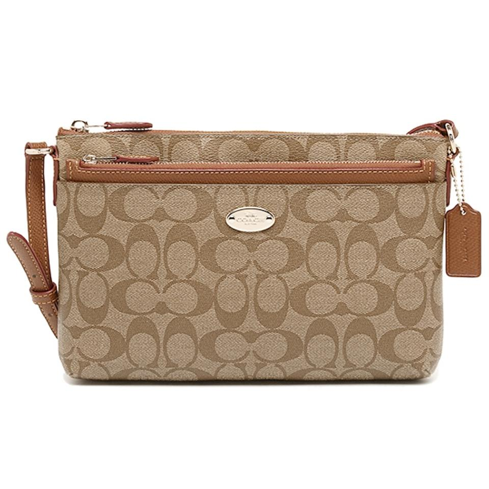 Coach East West Pop F52657 Brown Signature Pvc Coated Canvas With Leather Trim Cross Body Bag Tradesy