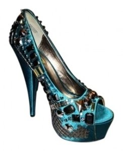 Wild Pair Studded Teal/Turquoise Platforms
