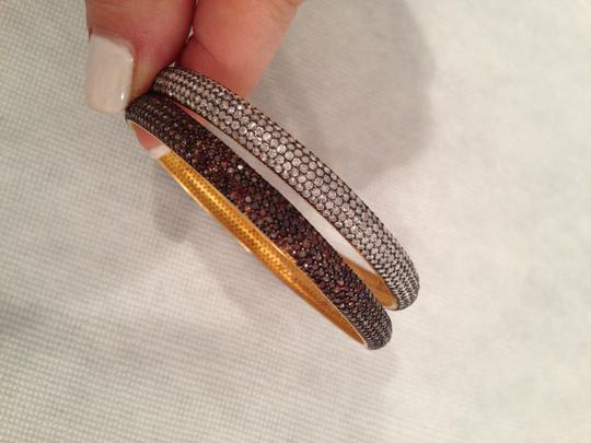 Azaara Azaara Coffee CZ Pave Bangle, Sterling Silver with Gold Plate