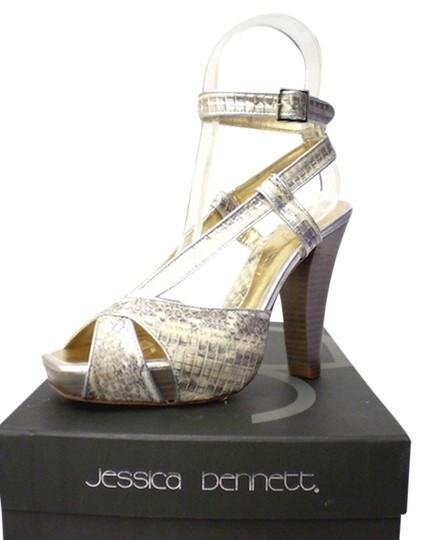Jessica Bennett Snake Printed Leather Ivory Hidden Stacked Leather Heel Ankle Strap Square Toe Silver Platforms