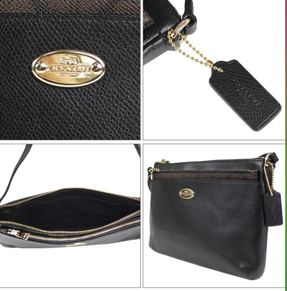 Coach East West Pop F52881 Black Signature Pvc Coated Canvas With Leather Trim Cross Body Bag Tradesy