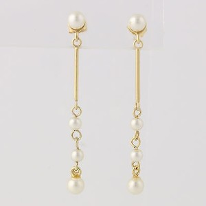 Simulated Pearl Dangle Earrings - Gold Plated Sterling Silver Pierced Womens