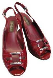 Brighton Size 7.00 M Leather Soles Very Good Condition Red, Wedges