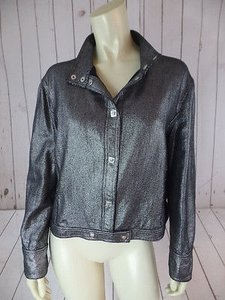 Versace Jeans Couture Short Waisted Black, Silver, Metallic, Speck Jacket