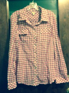 Hinge Button Down Shirt Pink And Grey