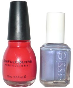 Essie Sinful Colors (red) + Essie(light blue/lavender)
