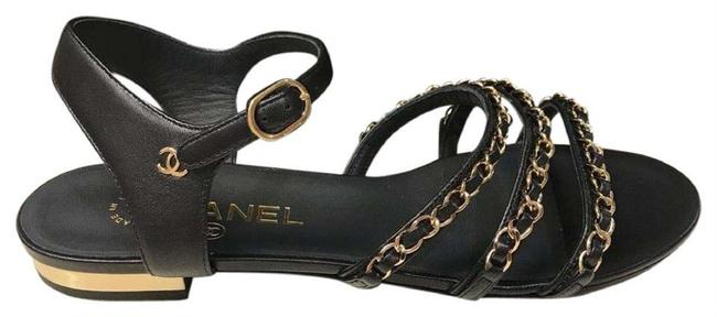 Item - Black Gold Leather T-strap Silver Chain Thong Flats Gladiator Sandals Size EU 38 (Approx. US 8) Regular (M, B)