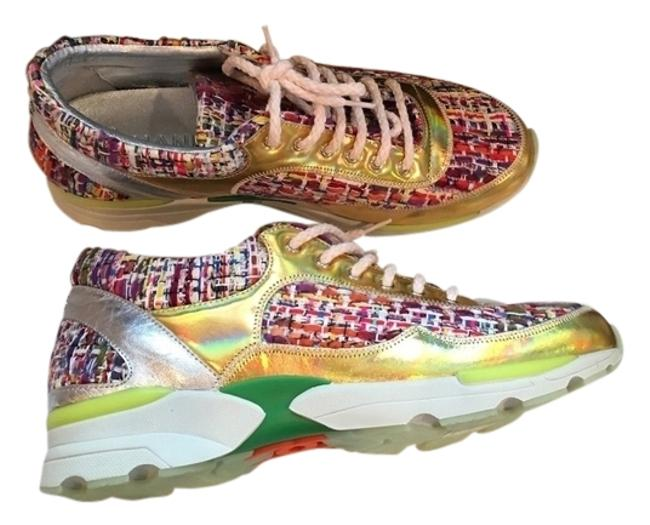 Item - Pink Gold 38 Tweed Runway Tennis Trainers Flat Lace Up Sneakers Size US 8 Regular (M, B)