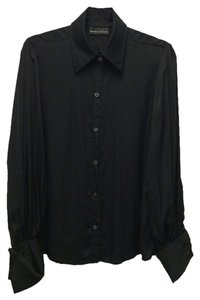 Dana Buchman Silk Button Down Shirt Black