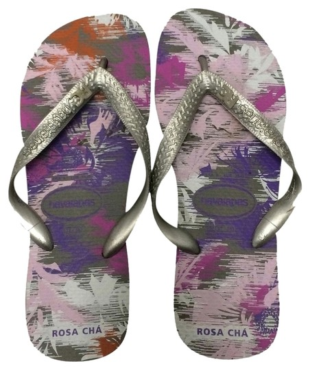 Rosa Cha Havaianas silver, pink, & purple tropical design Sandals