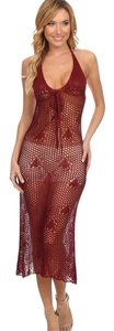 New Wine Crochet Maxi Coverup Dress Sheath Perfect Pool Party