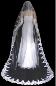Elegant Beaded Lace Cathedral Wedding Veil In White