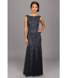 Adrianna Papell Charcoal (looks Like Navy Blue) Beaded Gown With Cap Sleeves Dress