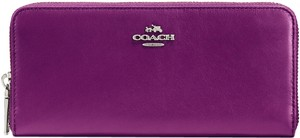 Coach Purple Coach Smooth Calfskin Continental Accordion zip around