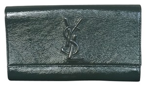 Saint Laurent Yves Green Patent Leather hunter green Clutch