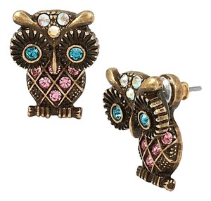 Betsey Johnson Betsey Johnson Betsey's Minis Crystal Owl Front Back Earrings NWT $35