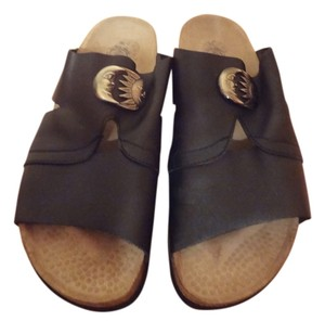 Watt bequem Black Leather Sandals