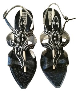 BLUZI & Silver High Heel Alligator Motif From Italy Never Worn BLACK Sandals