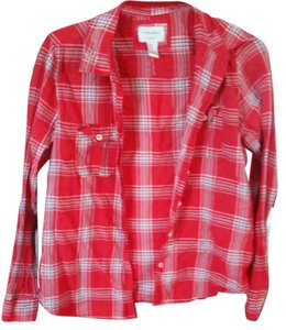 Forever 21 Flannel Button Down Shirt Red