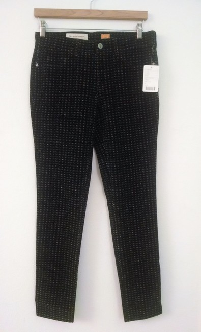 Antrhropologie Checkered Corduroy Legging Skinny Pants Printed Black