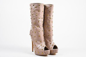 Brian Atwood Nude Gold Taupe Boots
