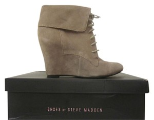 Steve Madden Wedge Bootie Leather Taupe Boots