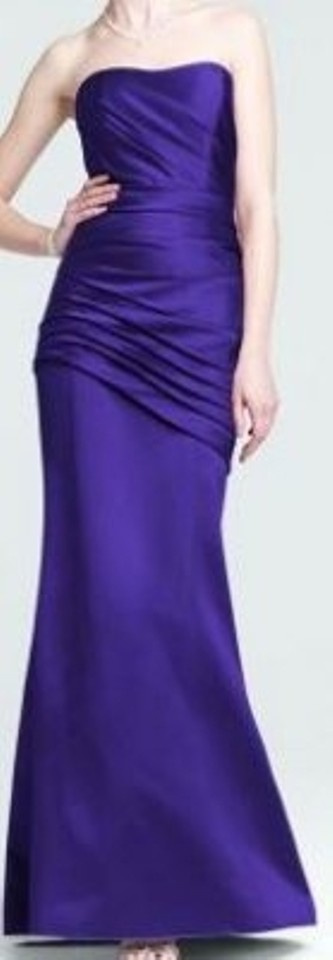 9a8491b5113 David s Bridal Regency (Purple) Satin Long Strapless Ruching Style F15142 Formal  Bridesmaid Mob