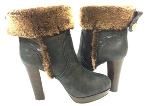 Tory Burch Pull Distressed Fur Trim Ankle Ash Black Boots