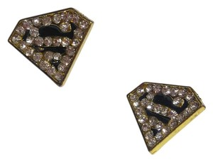 Other New Superman Stud Earrings Black Silver Crystals J2345