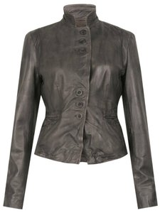 Muubaa Leather Mubba Leather Leather Mud Grey Leather Jacket