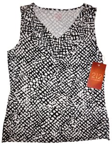 212 Collection Animal-print Gathered V-neck Stretchy Printed Top Black, White