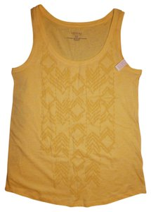 Sonoma Sleeveless Puff Paint Burnout Boho Bohemian Top Yellow