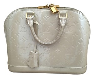 Louis Vuitton Patent Patent Leather Leather Monogram Diamond Satchel in White Diamond