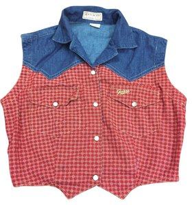 Guess Red Denim Vest