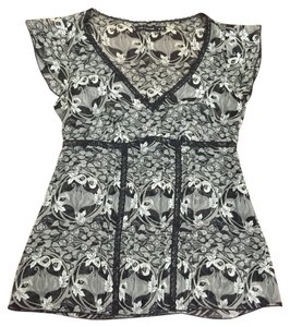 The Limited Silk Floral Top Black and gray