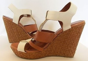 Jessica Simpson Platforms Wedges White Tan Sandals