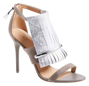 L.A.M.B. Taupe and Snake Print Sandals