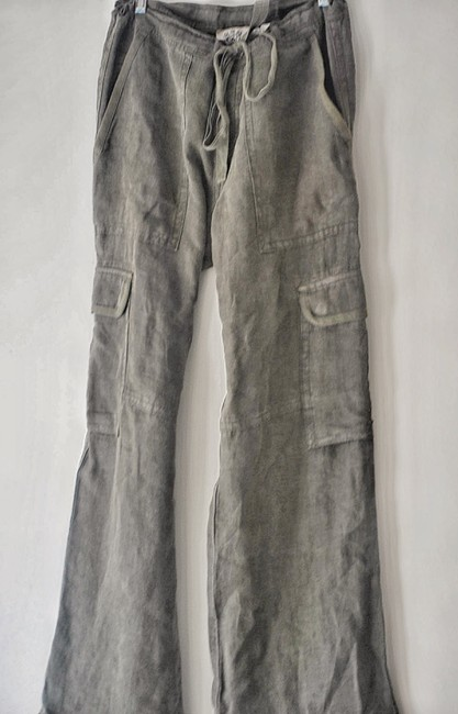 Item - Green Small Army Wide Leg Linen Drawstring Relax Fit Pants Size 4 (S, 27)