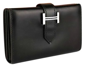 Hermès Authentic Hermes Black Box Calf Bearn Card Wallet