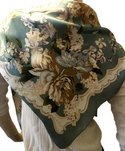 Echo Echo Flowered Teal Silk Scarf