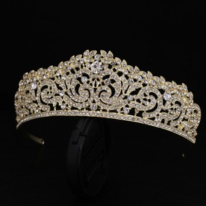 Brilliant Bridal Gold Plated Tiara With Front Comb