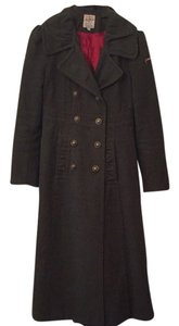 Joe Browns Olive Green Ruffled Double-breasted Trench Trench Coat