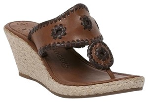 Jack Rogers Rope Espadrille Leather Cognac/Brown Wedges