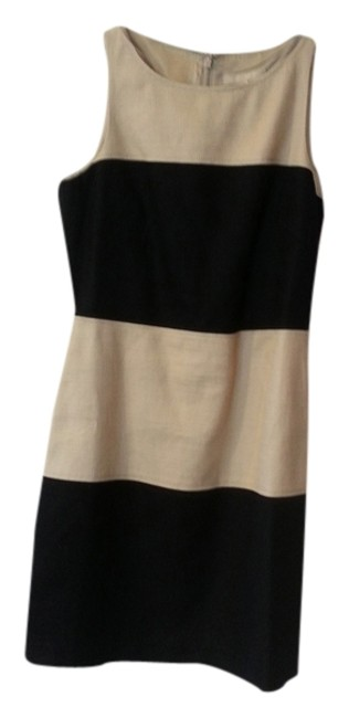 Item - Tan and Black Colorblock Short Work/Office Dress Size 4 (S)