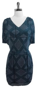 Heartloom short dress Teal & Black Silk on Tradesy