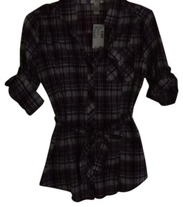 Ambiance Apparel Button Down Shirt Purple plaid