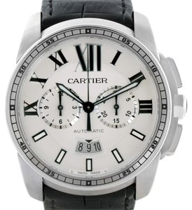 Cartier Cartier Calibre Chronograph Silver Dial Steel Mens Watch W7100046